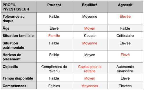 Profil d'investisseur comme exemple