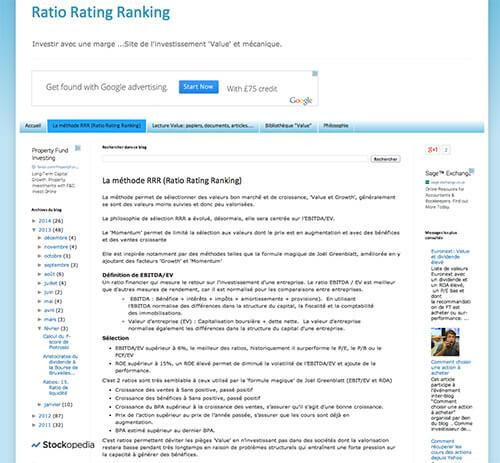 Ratio Rating Ranking - Investir avec une marge ... Site de l'investissement 'Value' et mécanique