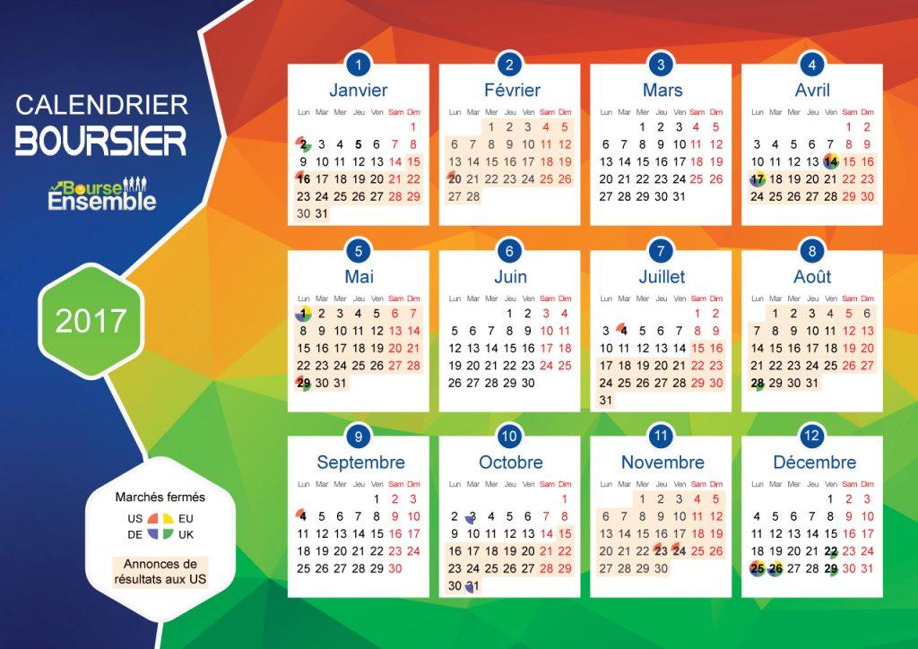 Calendrier boursier 2017 par Bourse Ensemble
