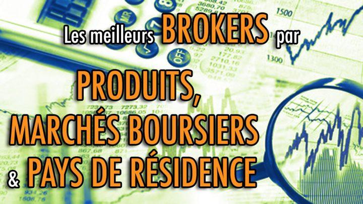 Les meilleurs brokers par Produits, Marchés boursiers & Pays de résidence