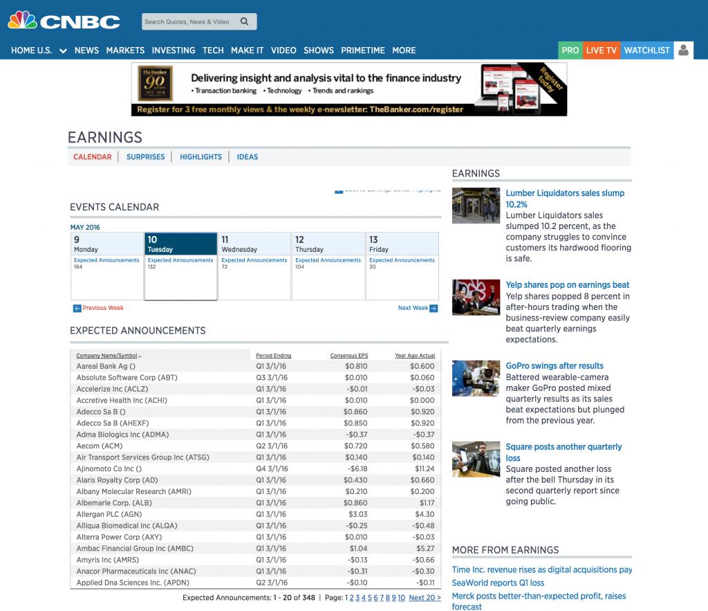 Les dates d'annonce de résultats boursiers sur CNBC