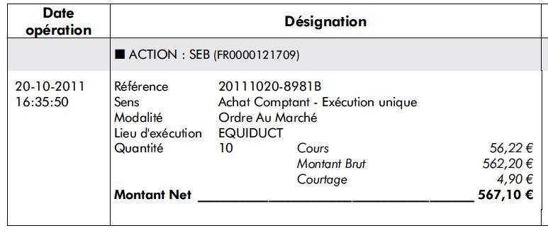 Achat Seb transaction nº1