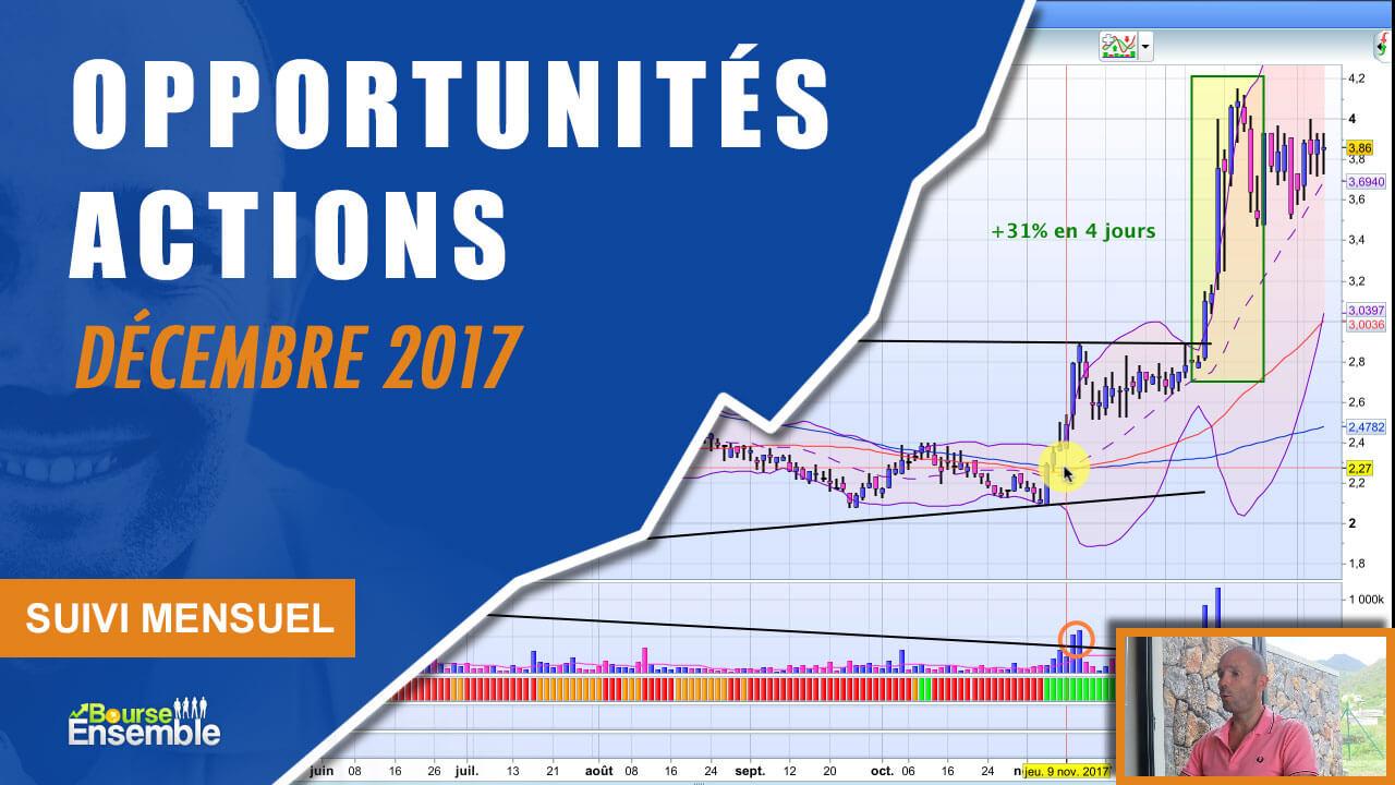 Opportunités actions en décembre 2017 (Suivi Mensuel bourse)