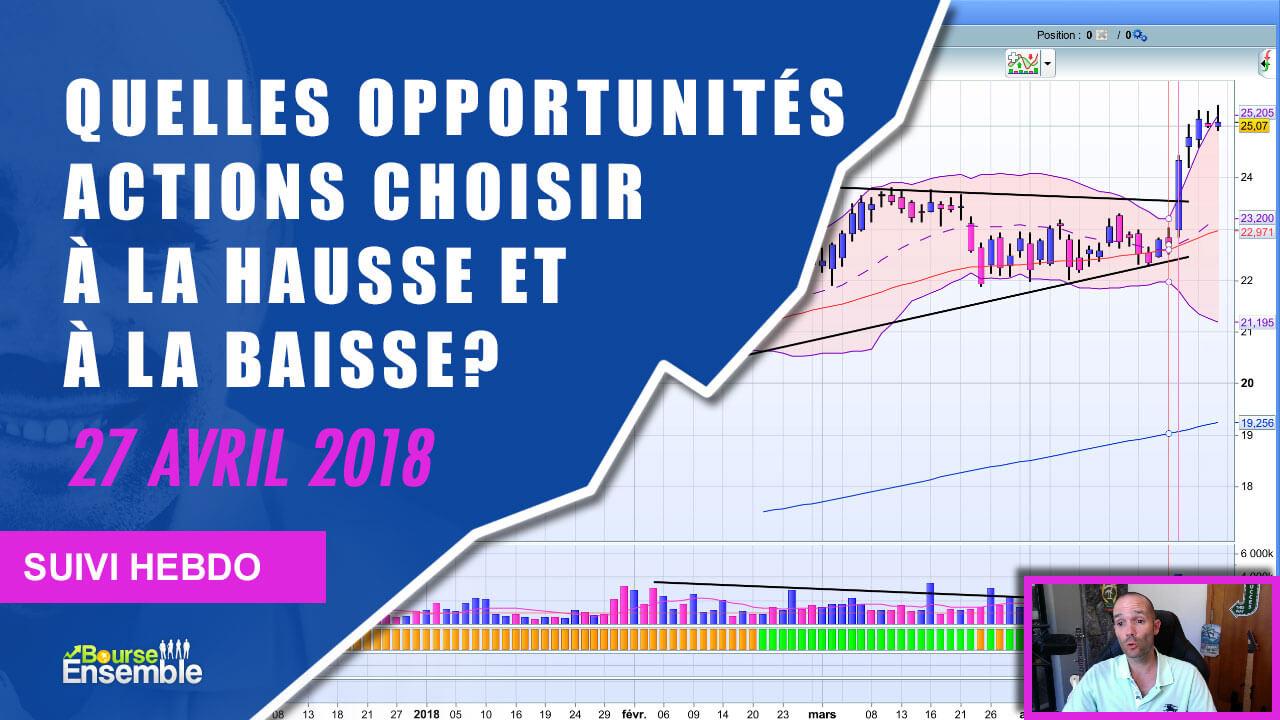 Quelles opportunités actions choisir à la hausse et à la baisse (Suivi hebdo bourse 27 avril 2018)