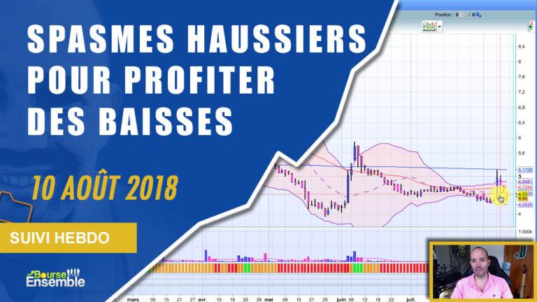 Spasmes haussiers pour profiter des baisses (Suivi hebdo bourse 10 août 2018)