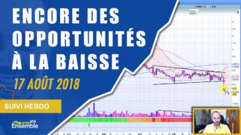 Encore des opportunités actions à la baisse (Suivi hebdo bourse 17 août 2018)