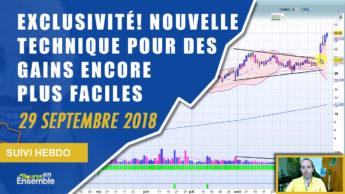 EXCLUSIVITÉ: Nouvelle technique pour des gains encore plus faciles (Suivi hebdo bourse 28 septembre 2018)
