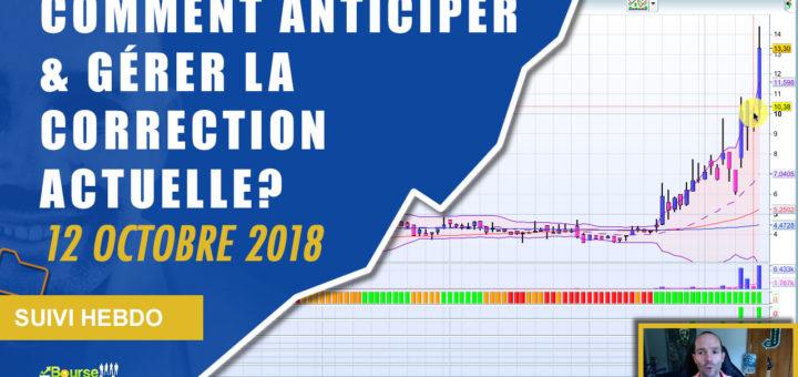 Comment anticiper et gérer la correction actuelle en bourse? (Suivi hebdo bourse 12 octobre 2018)