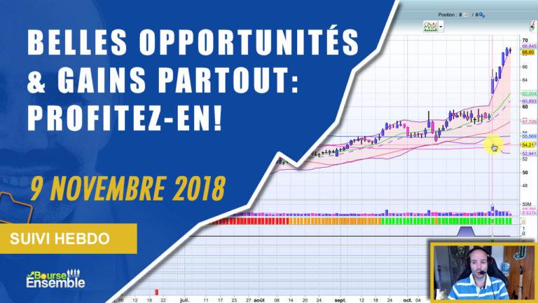 Des belles opportunités et des gains partout: PROFITEZ-EN! (Suivi hebdo bourse 9 novembre 2018)