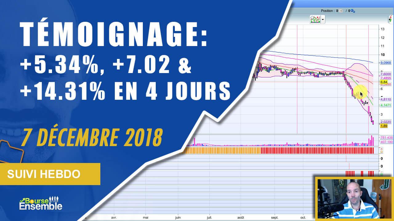 TÉMOIGNAGE: +5.34%, +7.02 & +14.31% en 4 jours (Suivi hebdo bourse 7 décembre 2018)