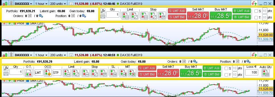 PRT V11: Barre de trading