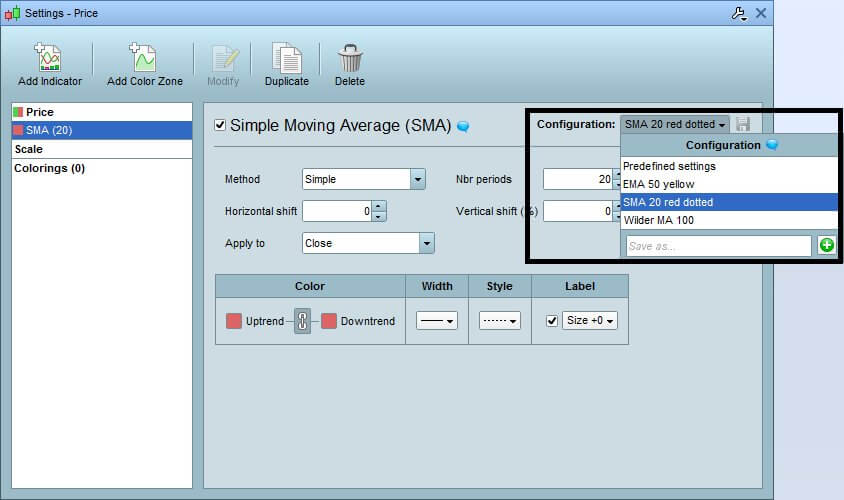 PRT V11: Enregistrer plusieurs configurations types