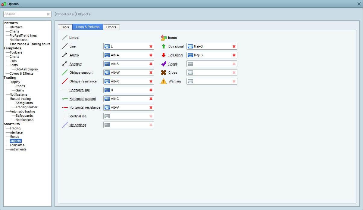 PRT V11: Plusieurs configurations types pour les objets
