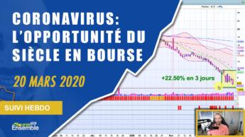 CORONAVIRUS: L'OPPORTUNITÉ DU SIÈCLE EN BOURSE (Extrait Suivi Hebdo Bourse 20 mars 2020)